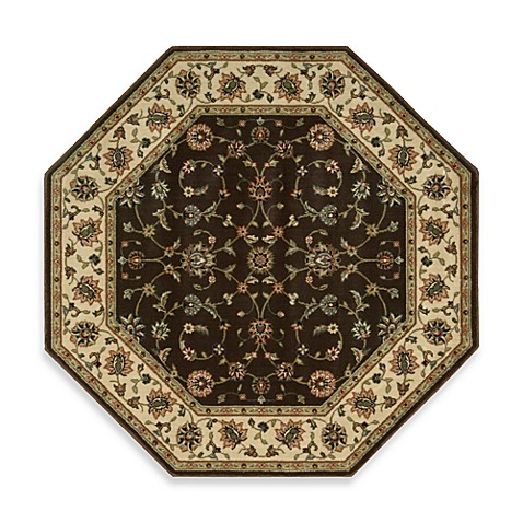 Nourison Persian Arts Kashan 5-Foot 3-Inch Octagonal Rug in Chocolate