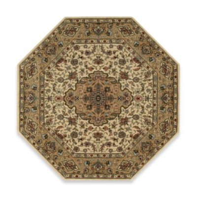Nourison Persian Arts Kirman 5-Foot 3-Inch Octagonal Rug in Ivory/Gold