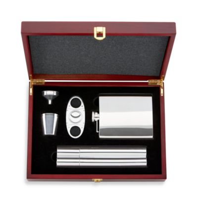 Gorham® 5-Piece Stainless Steel Flask and Cigar Set
