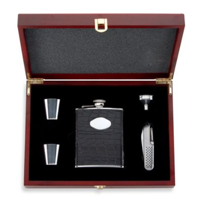 Gorham® 5-Piece Flask Set in Wood-Finish Box
