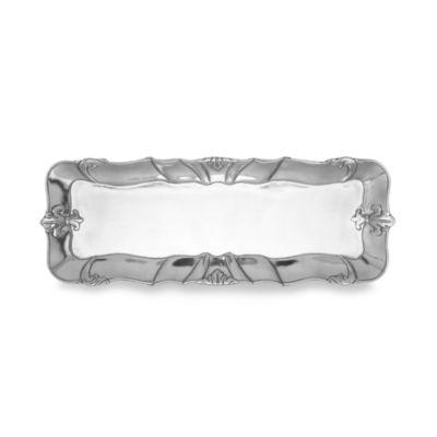 Arthur Court Designs Fleur-De-Lis 18-Inch x 7-Inch Oblong Tray