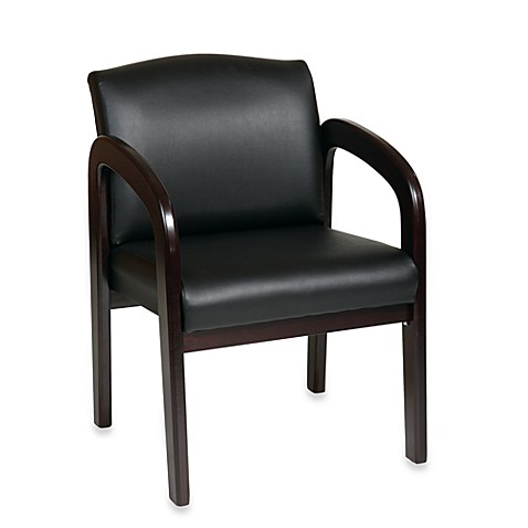 Faux Leather Espresso Finish Wood Visitor Chair
