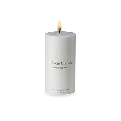Candle Classics Unscented White Pillar Candle - 3 4/5