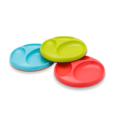 Boon Saucer Edgeless Stay-Put Divided Plates (Set of 3)