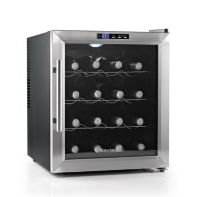 Wine Enthusiast Silent 16-Bottle Wine Refrigerator with Stainless Steel Trim Door