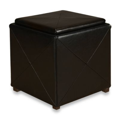 Mariolla Faux Leather Storage Cube in Black