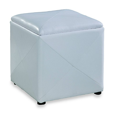 Mariolla Faux Leather Storage Cube in White