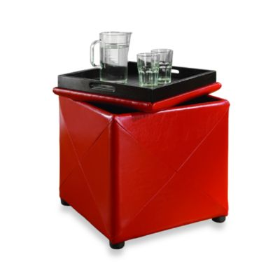 Mariolla Faux Leather Storage Cube in Red
