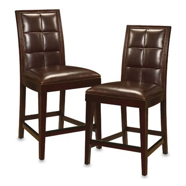 Helayna Coffee Bean Biscuit Back Counter Stools (Set of 2)
