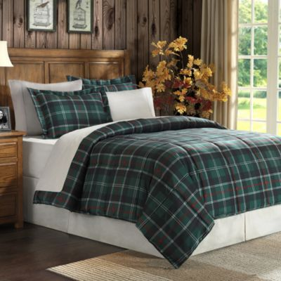 Suttherland plaid down alternative microfiber comforter set