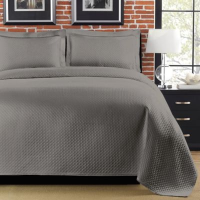 Diamante King Matelasse Coverlet - Gray