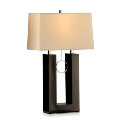 NOVA Lighting Earring Standing Table Lamp in Gloss Black Wood & Black Nickel with White Shade