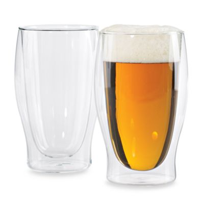 Wine Enthusiast Steady-Temp Double Wall Beer Glasses (Set of 2)