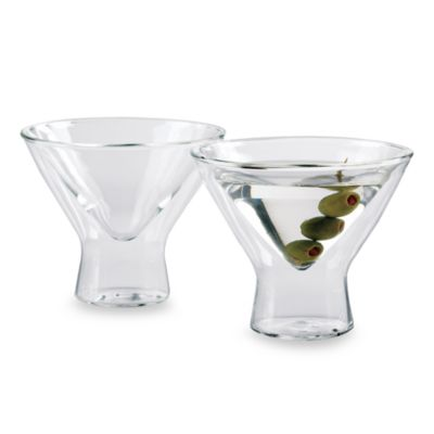 Wine Enthusiast Steady-Temp Double Wall Martini Stemless Glasses (Set of 2)