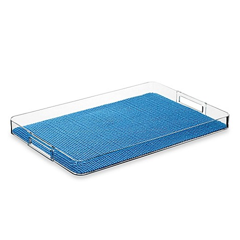 Kraftware™ Fishnet Lucite Handled Gallery Tray in Blue