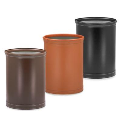 Kraftware™ Stitch 13-Inch Oval Wastebasket in Brown
