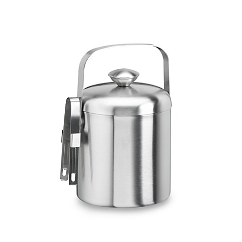 KraftWare™ Brushed Stainless Steel 1.5-Quart Ice Bucket with Tongs