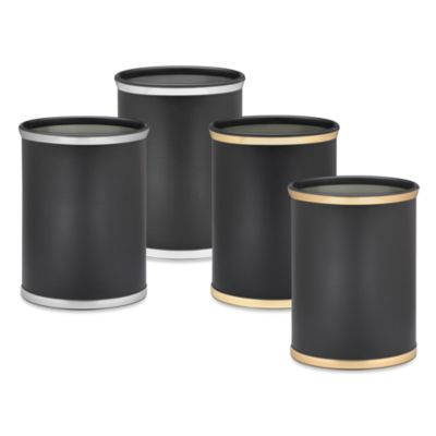 Kraftware™ Sophisticates Black Wastebasket with Metallic Bands in Polished Gold Brass