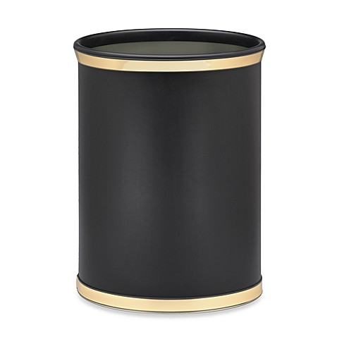 Kraftware™ Sophisticates Black Wastebasket with Metallic Bands in Polished Gold Brass