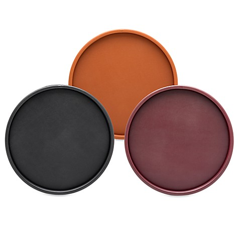 KraftWare™ Soho Deluxe Saddle Brown 14-Inch Leatherette Serving Tray