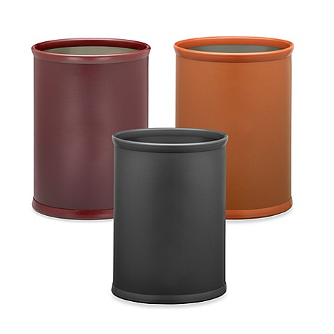 KraftWare™ Soho Leatherette Waste Basket - Saddle Brown