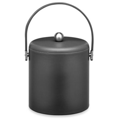 KraftWare™ Soho Leatherette Ice Bucket with Leatherette Lid in Black