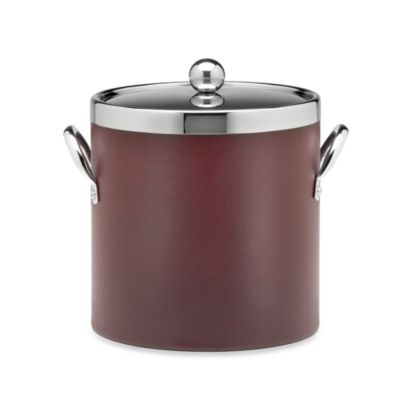 Kraftware™ Soho Leatherette Ice Bucket with Chrome Lid in Claret