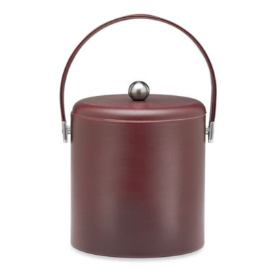 KraftWare™ Soho Leatherette Ice Bucket with Leatherette Lid in Claret
