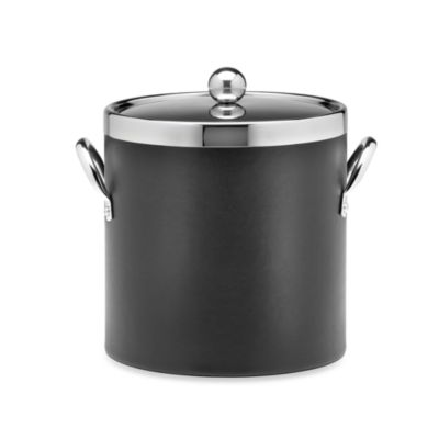 KraftWare™ Soho Leatherette Ice Bucket with Chrome Lid in Black