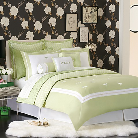 Kate spade dragonfly drive duvet cover 100 cotton bed for Bed bath and beyond kate spade