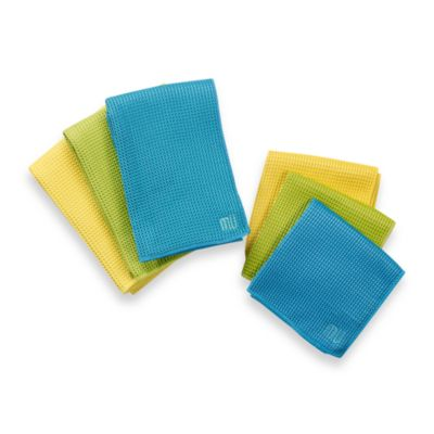 MU Kitchen™ Waffle Kitchen Towels in Sea Blue (Set of 2)