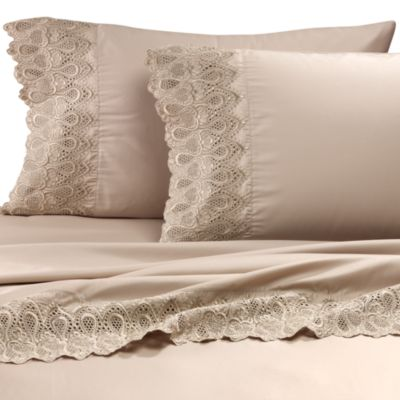 Easy-Care Lace Queen Sheet Set in Linen