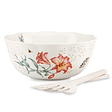 Lenox® Butterfly Meadow® 11-Inch Salad Bowl with Wood Servers