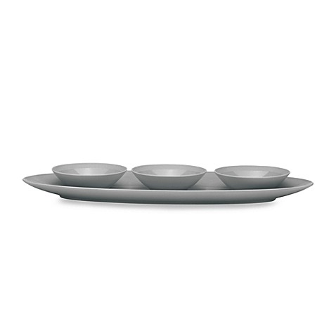Donna Karan Lenox® Matte & Shine Slate 16-Inch L Hors D'oeuvres Tray w/3 Small Bowls