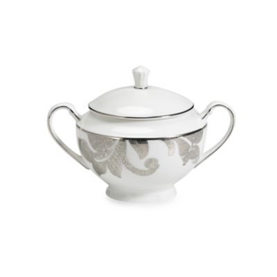 Lenox® Silver Appliqué™ 4 1/2-Inch Lidded Sugar Bowl