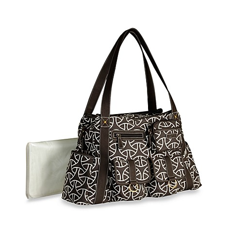 Carter's® Tall Multiple Pocket Duffle Diaper Bag - Brown Geometric Print
