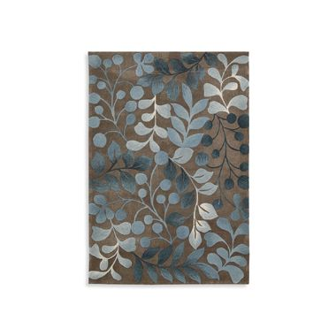 Nourison Contours Mocha and Blue Botanical Rectangle Rug - 7-Foot 3-Inch x 9-Foot 3-Inch