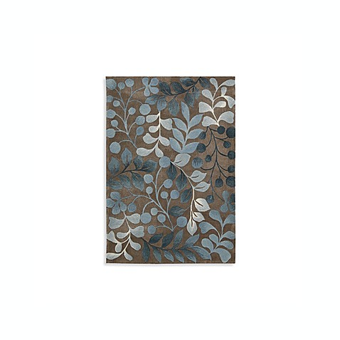 Nourison Contours Botanical Rectangle Rugs in Mocha/Blue