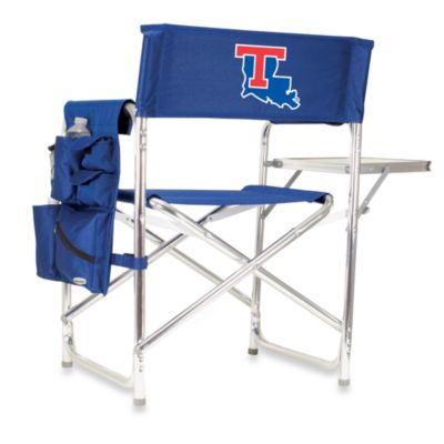 Picnic Time® Louisiana Tech Collegiate Folding Sports Chair in Navy Blue