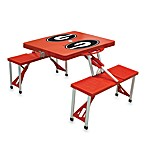 Picnic Time® University of Georgia Collegiate Foldable Table with Seats in Red