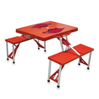 Picnic Time® University of Arkansas Collegiate Foldable Table with Seats in Red