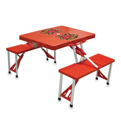 Picnic Time® University of Maryland Collegiate Foldable Table with Seats in Red