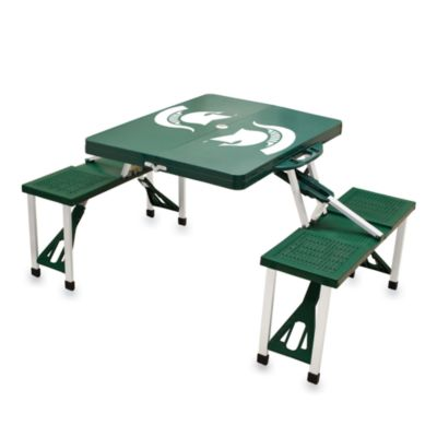 Picnic Time® Michigan State University Collegiate Foldable Table with Seats in Green