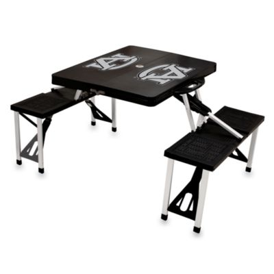 Picnic Time® Auburn University Collegiate Foldable Table with Seats in Black