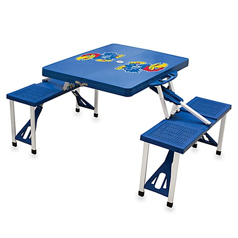 Picnic Time® University of Kansas Collegiate Foldable Table with Seats