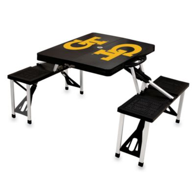 Picnic Time® Georgia Tech Collegiate Foldable Table with Seats in Black