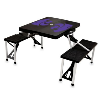 Picnic Time® Kansas State University Collegiate Foldable Table with Seats in Black