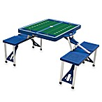 Picnic Time® West Virginia University Collegiate Foldable Table with Seats in Black