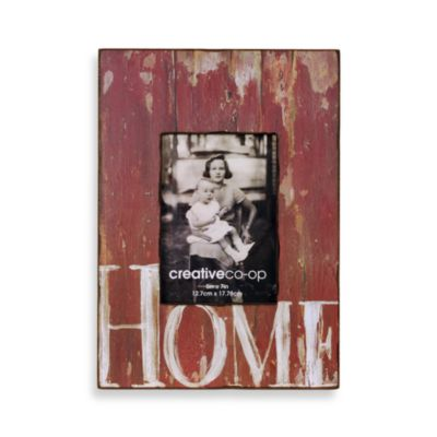 Barnwood Distressed Wood 5-Inch x 7-Inch Frame in Red