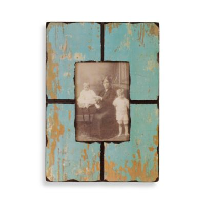 Barnwood Distressed Wood 5-Inch x 7-Inch Frame in Turquoise